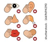 hand don't touch to protect... | Shutterstock .eps vector #1669694290