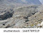 The morraine covered Unteraargletscher glacier in the Bernese Alps, Switzerland.