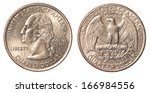 One Us Quarter Coin Isolated O...