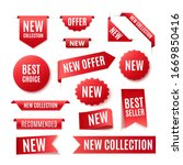 collection of red promo badges... | Shutterstock .eps vector #1669850416