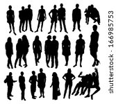 people silhouette black vector | Shutterstock .eps vector #166985753