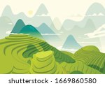 Rice Field Vector Style Simple