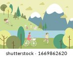 people in park by river and... | Shutterstock .eps vector #1669862620