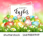 easter theme with colorful eggs ...   Shutterstock .eps vector #1669884949