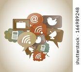 internet icons over vintage... | Shutterstock .eps vector #166989248