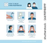 how to wear a n95 respirator... | Shutterstock .eps vector #1669898899