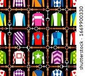 seamless pattern jockey uniform.... | Shutterstock .eps vector #1669900330