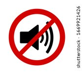 no sound sign on white... | Shutterstock .eps vector #1669921426