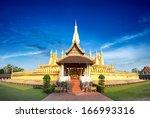 laos travel landmark  golden... | Shutterstock . vector #166993316