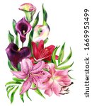 Bouquet Of Watercolor Lily  Re...