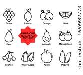 fruit icon set vector...   Shutterstock .eps vector #1669982773