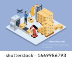 product delivery. man...   Shutterstock .eps vector #1669986793