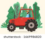 Man Driving Tractor On Road In...