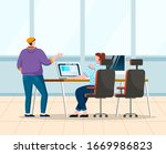 man and woman talk about work... | Shutterstock .eps vector #1669986823