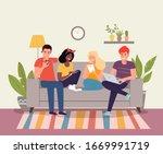 young women  men sitting on...   Shutterstock .eps vector #1669991719