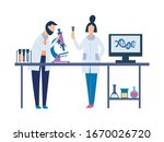 two scientists in science...   Shutterstock .eps vector #1670026720