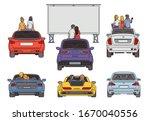 people in open air cinema...   Shutterstock .eps vector #1670040556