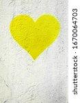 Yellow Love Heart Hand Drawn On ...
