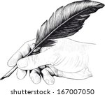 vintage drawing of hand with a... | Shutterstock .eps vector #167007050