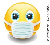 medical mask emoji kawaii face. ... | Shutterstock .eps vector #1670078560