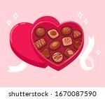 open heart shaped box of... | Shutterstock .eps vector #1670087590