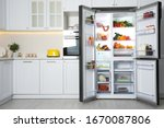 Open Refrigerator Filled With...