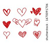 hand drawn doodle hearts  hand... | Shutterstock .eps vector #1670091706