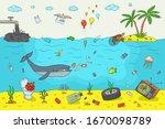 ocean pollution concept. hand... | Shutterstock .eps vector #1670098789