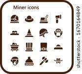 miner icon set. 16 filled miner ... | Shutterstock .eps vector #1670164849