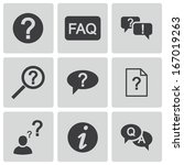 vector black faq icons set on... | Shutterstock .eps vector #167019263