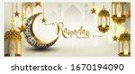 ramadan kareem with crescent...   Shutterstock .eps vector #1670194090