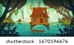 Stilt House In Swamp With Boat...