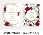 wedding invitation cards with... | Shutterstock .eps vector #1670244379