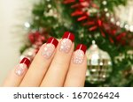 Winter Manicure With Red...