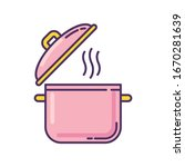 cooking pot pink rgb color icon.... | Shutterstock .eps vector #1670281639