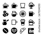coffee icon set on white....