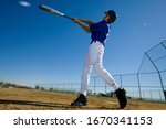 Baseball Batter In Blue Uniform ...