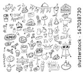 hand drawn food elements | Shutterstock .eps vector #167038730