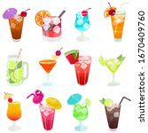 alcohol drinks and cocktails.... | Shutterstock .eps vector #1670409760