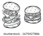 hamburger. hand drawn meat... | Shutterstock .eps vector #1670427886