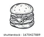 hamburger. hand drawn meat... | Shutterstock .eps vector #1670427889