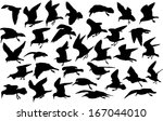 vector set of silhouettes of 33 ... | Shutterstock .eps vector #167044010