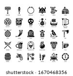 set of viking thin line and... | Shutterstock .eps vector #1670468356