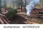 Small photo of Primitive survival a-frame survival shelter. Bushcraft campsite with campfire and smoke in Asheville, North Carolina. Appalachian Wilderness