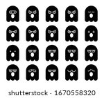 cute black ghost emoji ... | Shutterstock .eps vector #1670558320