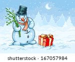 christmas snowman and red gift... | Shutterstock .eps vector #167057984