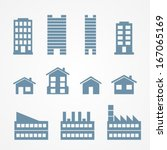 building icons set | Shutterstock .eps vector #167065169