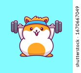 Cute Hamster Gym Fitness Vecto...