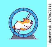 Cute Hamster Running Vector...