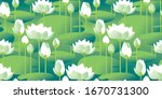 decorative water lily seamless... | Shutterstock .eps vector #1670731300